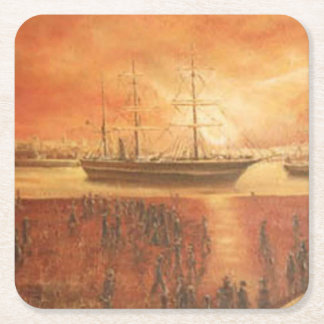 Sunset on the Past Square Paper Coaster