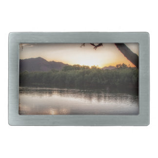 Sunset on the River Rectangular Belt Buckles