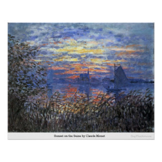 Sunset on the Seine by Claude Monet Poster