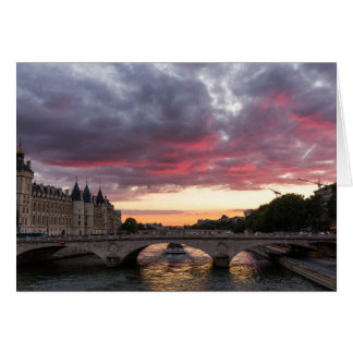 Sunset on the Seine River Greeting Card