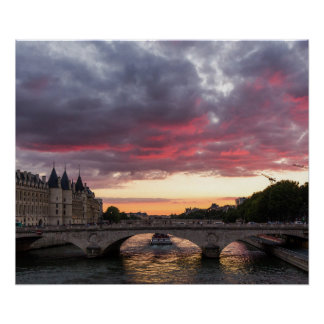 Sunset on the Seine River Poster