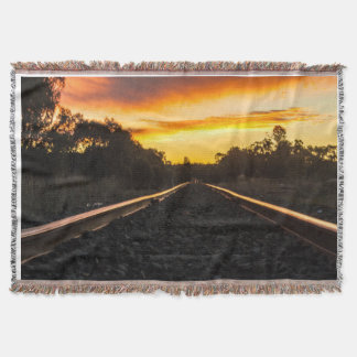 sunset on the tracks throw
