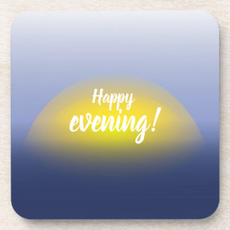 Sunset on the water print with blues & yellow. coaster