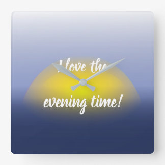 Sunset on the water print with blues & yellow. square wall clock