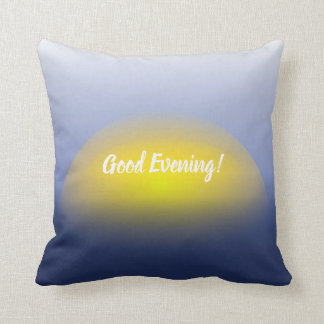 Sunset on the water print with blues & yellow. throw pillow