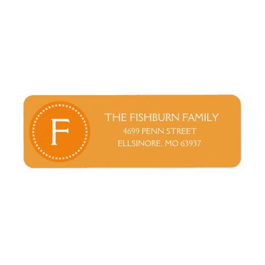 Sunset Orange Muted Monogram Custom Monogrammed Return Address Label