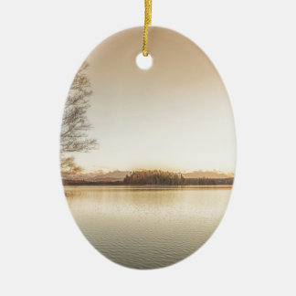 Sunset Osterseen Ceramic Oval Ornament