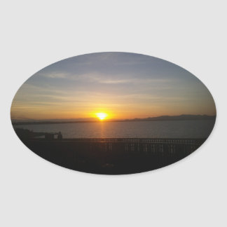 Sunset Oval Sticker