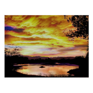 Sunset Over a Country Pond Postcard