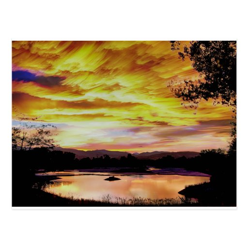 Sunset Over a Country Pond Post Card