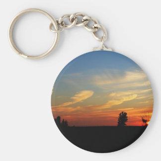 Sunset Over A Farm Key Chain