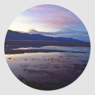 Sunset Over Bad Water Classic Round Sticker