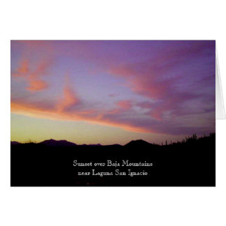 Sunset over Baja Mountains Card