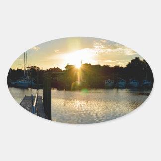 Sunset over Cape Cod Oval Sticker