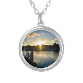 Sunset over Cape Cod Silver Plated Necklace