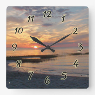 Sunset over Cape Cod Square Wall Clock