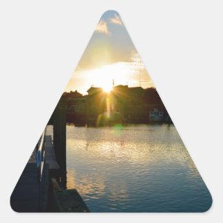 Sunset over Cape Cod Triangle Sticker