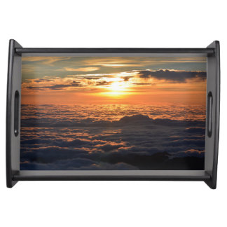 Sunset Over Clouds Serving Tray