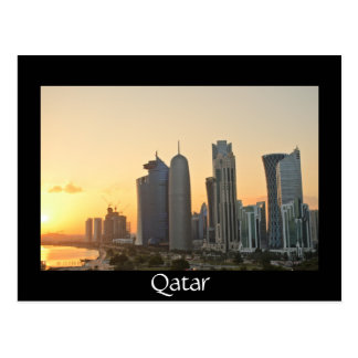 Sunset over Doha, Qatar black postcard