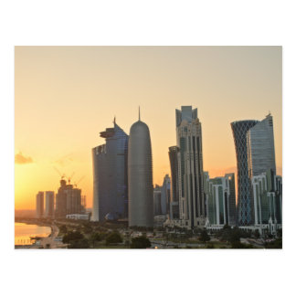 Sunset over Doha, Qatar postcard