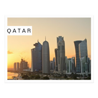 Sunset over Doha, Qatar white frame postcard