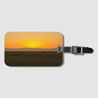 Sunset over farmland agriculture mountains luggage tag