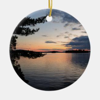 Sunset Over Fire Island Millinocket Lake Maine Ceramic Ornament