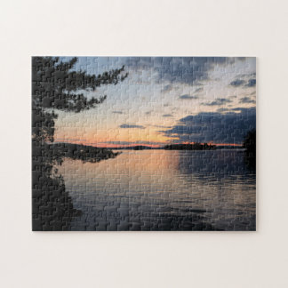 Sunset Over Fire Island Millinocket Lake Maine Jigsaw Puzzle