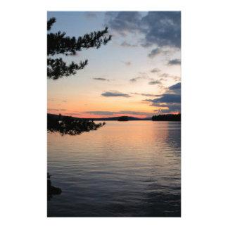 Sunset Over Fire Island Millinocket Lake Maine Stationery