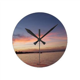 Sunset over Florida Bay, Key Largo FL Round Clock