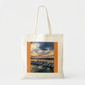 Sunset over Hull Harbor Tote Bag