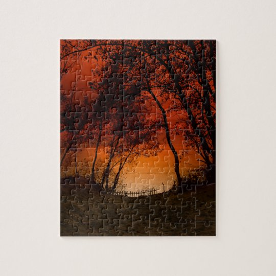 Sunset over Lake Michigan dunes Jigsaw Puzzle