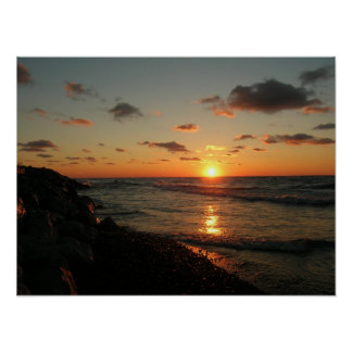 Sunset over Lake Michigan Poster