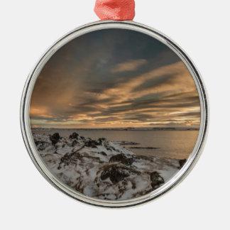 Sunset over lake Myvatn, Iceland Metal Ornament