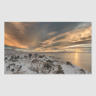 Sunset over lake Myvatn, Iceland Sticker