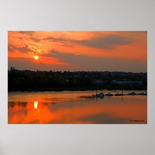 Sunset Over Medway Print