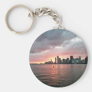 Sunset over Miami Basic Round Button Keychain