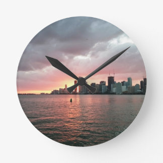 Sunset over Miami Wall Clock
