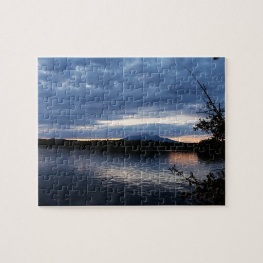 Sunset Over Mount Katahdin Millinocket Lake Maine Jigsaw Puzzle