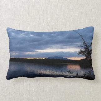Sunset Over Mount Katahdin Millinocket Lake Maine Lumbar Pillow
