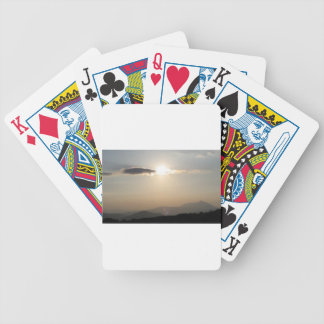 Sunset over mountains bicycle playing cards
