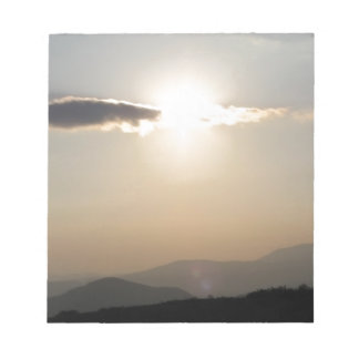 Sunset over mountains notepad