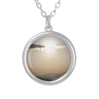 Sunset over mountains silver plated necklace