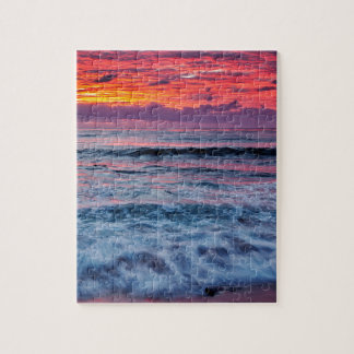 Sunset over ocean waves, California Jigsaw Puzzle