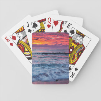 Sunset over ocean waves, California Playing Cards
