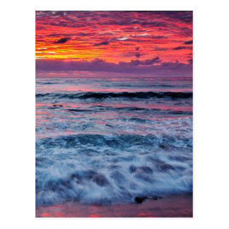 Sunset over ocean waves, California Postcard