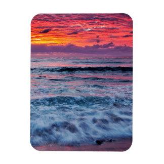 Sunset over ocean waves, California Rectangular Photo Magnet