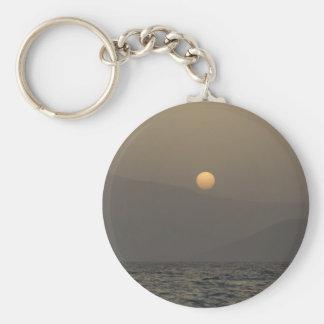 Sunset over Paros island mountains Basic Round Button Keychain