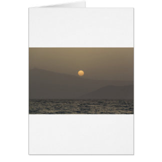 Sunset over Paros island mountains Card