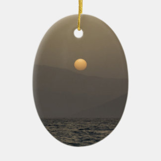 Sunset over Paros island mountains Ceramic Oval Ornament